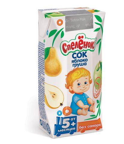 Соки и напитки Спеленок Сок Яблоко-груша с мякотью с 5 мес. 200 мл спеленок пюре морковь с яблоком с 5 мес 80 гр