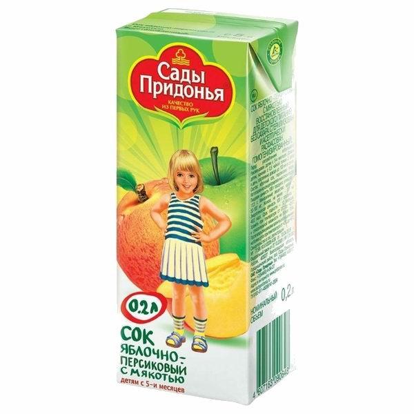 Соки и напитки Сады Придонья Сок Яблоко и персик с мякотью с 5 мес., 200 мл пюре сады придонья яблоко и персик с 5 месяцев