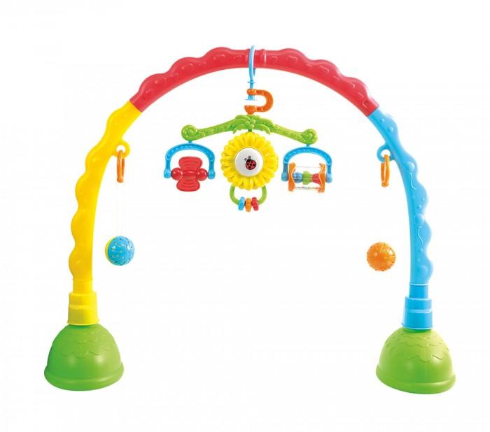Развивающая игрушка Playgo Центр-дуга с подвескамиЦентр-дуга с подвескамиРазвивающая игрушка Playgo Центр-дуга с подвесками  Если ваш малыш еще не готов к играм с крупными игрушками, то можно разнообразить его досуг такой яркой игровой конструкцией. Ведь стоит крохе увидеть перед собой красочные подвески, как ему непременно захочется потрогать их и привести в движение. Тем самым он, сам того не замечая, будет развивать мелкую моторику и хватательный рефлекс, что очень важно в раннем возрасте.  Особенности: - Эта яркая игровая конструкция поможет родителям улучшить координацию движений и визуальное восприятие малыша, а также развить его цветовосприятие. - Конструкция имеет широкие основания-ножки с резервуарами для воды для обеспечения устойчивости и может быть установлена на любой ровной поверхности, например на полу или пеленальном столике. На дуге по бокам подвешены два разноцветных шарика-погремушки с рельефной поверхностью, которые негромко гремят при каждом движении. - В комплекте также предусмотрена красочная поворотная подвеска, которая крепится на корпус развивающего центра и сразу же привлекает внимание малыша. - На ней размещены разноцветные игровые элементы для развития мелкой моторики крохи, так как он с удовольствием будет вращать прозрачный барабан или мельничку, а также перемещать яркие колечки. - А с помощью повешенных мячиков малыш будет тренировать хватательный рефлекс, стараясь дотянуться до них и взять в ладошку. - Дуга с подвесками выполнена из сертифицированного и высококачественного пластика, поэтому абсолютно безопасна для детей. - А окрашено изделие нетоксичными стойкими красителями, которые не истираются с поверхности и надолго остаются такими же яркими.  Характеристики: Возраст: от 0 мес. Размер упаковки: 13 х 45 х 38 см. В комплекте: дуга, подвески. Вес: 1,5 кг. Упаковка: картонная коробка. Материал: пластик.<br>