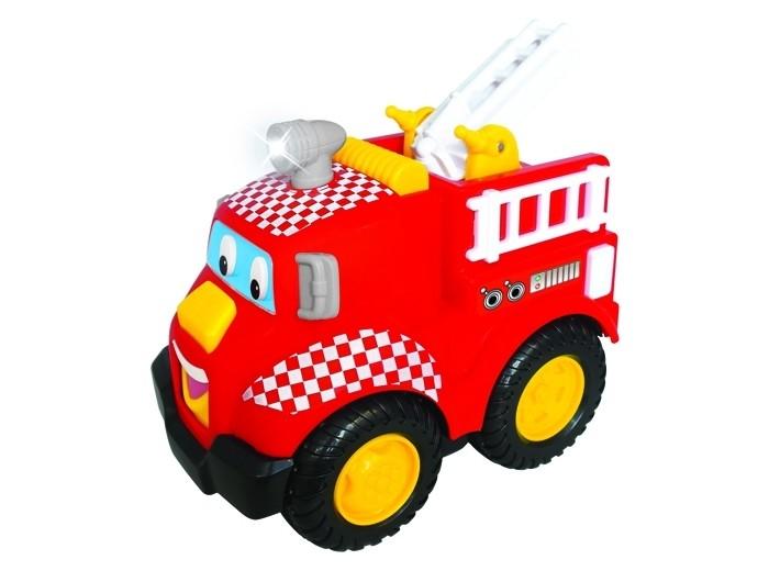 Развивающая игрушка Kiddieland Развивающая игрушка Пожарная машинаРазвивающая игрушка Пожарная машинаРазвивающая игрушка Kiddieland Пожарная машина на батарейках с функцией автоматической остановки, музыкой и звуками двигателя! Игрушка способна самостоятельно ездить вперёд, развлекая кроху весёлыми мелодиями и звуками мотора и сирены.   Игрушка прекрасно развивает звуковое восприятие и мелкую моторику рук.  Питание: 3 батареи АА (входят в комплект).<br>