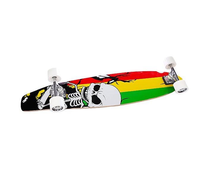 HelloWood Скейтборд HW Long Board 38 ScullСкейтборд HW Long Board 38 ScullHelloWood Скейтборд HW Long Board 38 Scull - идеальный лонгборд для новичка, простая, универсальная модель. Почему? Вам только предстоит освоить передвижение на лонге, научиться чувствовать его, маневрировать. Со временем появится свой стиль езды, тогда можно апгрейдить доску по вкусу. Начинающему райдеру лучше отказаться от приобретения крутого и дорогого лонга, потому что такие модели в большинстве своем узкопрофильные и подходят для определенного стиля. С другой стороны, совсем дешевые модели не всегда обеспечивают высокое качество езды, и интерес к этому виду уличного спорта часто пропадает.  Этот параметр индивидуальный, однако оптимальной длиной доски считается расстояние от земли до пояса райдера. Чем длиннее и шире лонг, тем легче научиться кататься. Со временем можно перейти на короткие деки для выполнения трюков и финтов.Колеса должны быть большими и мягкими, с подшипниками ABEC 3 — ABEC 5, задняя часть — поднятая для легкого преодоления бордюров и других преград. Вес райдера важен для выбора жесткости деки и индивидуальной настройки подвески.  Дека из китайского клёна будет отличным вариантом для начинающих, которые хотят лишь только попробовать или ощутить новые эмоции.Очень крепкая 9-ти слойная дека не сломается при изучении начальных трюков.Подшипники ABEC 5 - идеальный вариант для тех, кто ценит высокое качество, быстрый разгон и стабильное движение. Это самый популярный класс подшипников среди профессионалов.<br>