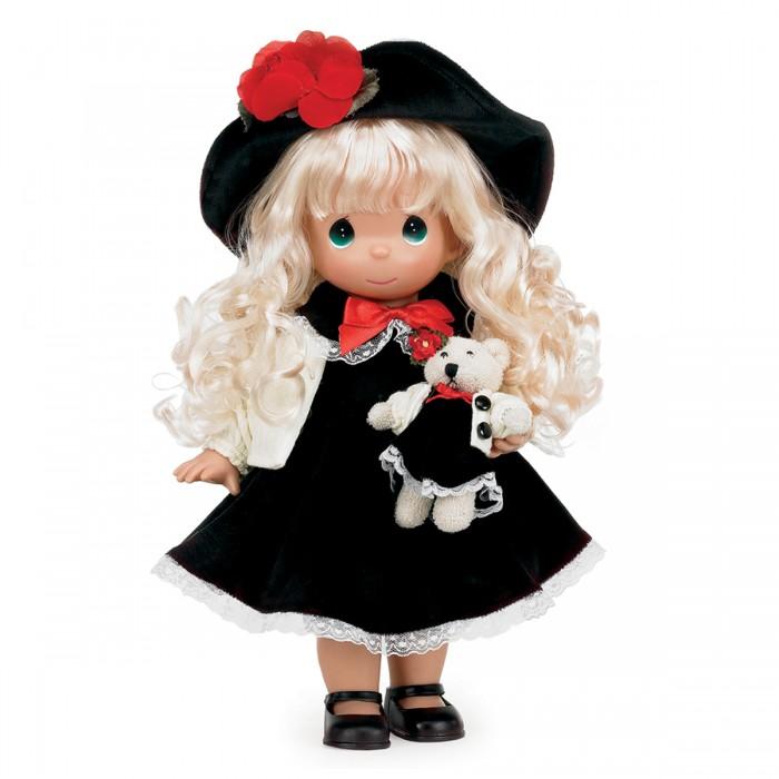 Precious Кукла Ты мой друг 30 смКукла Ты мой друг 30 смКукла Precious Moments Ты мой друг очарует вас и вашу дочурку с первого взгляда!   Кукла одета в черное платье и белую кофту. Под платьем надеты белые панталоны, на ногах куклы - черные туфельки. На голове куклы - черная шляпа, украшенная красным цветком. В руках она держит мягкую игрушку - медвежонка. На милом личике куклы большие зеленые глаза.    Особенности:  Вся одежда съемная.   Кукла изготавливается из качественного, безопасного материала и имеет пять базовых точек артикуляции.   Кукла имеет свой неповторимый образ и характер.   Волосы прошитые, из качественного синтетического волокна или крученых ниток, в зависимости от образа. Рост куклы 30 см.<br>