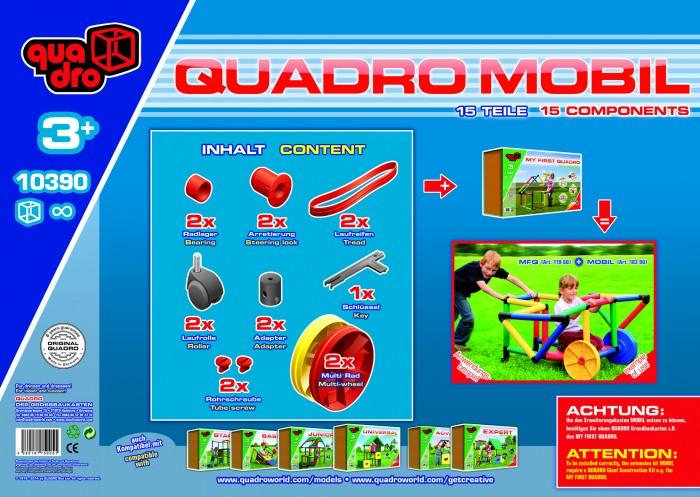 Конструктор Quadro Крупногабаритный Mobile 15 элементовКрупногабаритный Mobile 15 элементовКонструктор Крупногабаритный Mobile 15 элементов предназначен для детей с возрастом от трех лет.   Совместим со семи конструкторами фирмы «QUADRO». С помощью этого набора ребенок сможет сконструировать самолет, машинку, тележку и многое-многое другое. Все зависит от фантазии ребенка. Данный конструктор развивает моторику, внимательность, пространственное мышление. Качественная пластмасса (PE +PP) повышает срок службы набора. Такая пластмасса гипоаллергенна, она не вызовет аллергию у ребенка. Так же, она не выгорает на солнце, не выцветает, останется прочной и надежной на долгие годы. В набор входит пятнадцать деталей.  Особенности:  Размер: 40 х 20 х 14 см 100% гипоаллергенный материал Возраст ребенка: от 3 лет В наборе:  Колесо - 2 шт. Обод колеса - 2 шт. Подшипник - 2 шт. Втулка - 2 шт. Роликовое колесо - 2 шт. Адаптер для ролика - 2 шт. Винты - 2 шт. Ключ - 1 шт.<br>