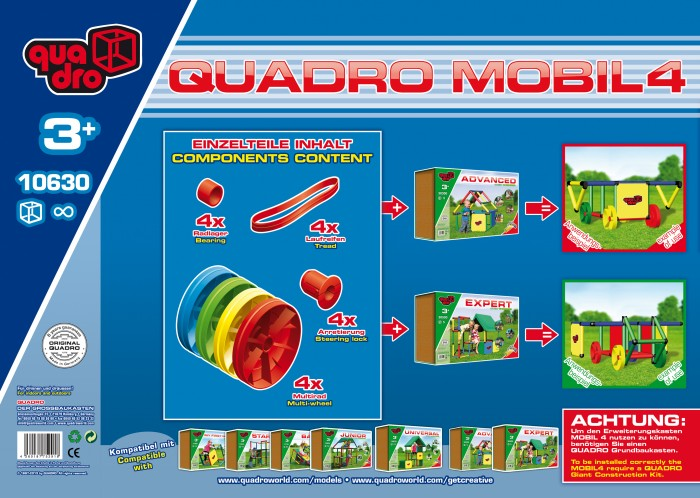 Конструктор Quadro Mobile 4 19 элементовMobile 4 19 элементовКонструктор Дополнительный комплект Quadro Mobile 4 19 элементов помимо всего прочего включает QUADRO Колеса, которые позволят построить транспортное.  Количество деталей: 19 шт Габариты упаковки: 40 x 40 x 25 см Вес упаковки: 6 кг<br>