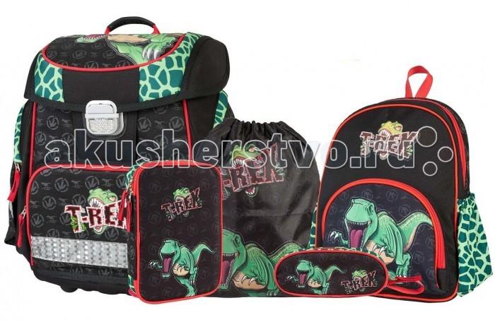Target Collection Ранец Динозавр Тирекс 6 в 1Ранец Динозавр Тирекс 6 в 1Target Collection Ранец Динозавр Тирекс 6 в 1 имеет яркий рисунок и изготовлен из современных, прочных материалов. Техническими особенностями рюкзака (портфелей) Target Collection является система Flexiball (поясничная поддержка), которая оптимально адаптирована для ребенка. Ведь самое главное, чтобы ребенок имел правильную осанку во время переноски портфеля. Система Flexiball является новшеством в промышленности, она правильно распределяет вес мешка, автоматически подстраивается под ребенка и поэтому обеспечивает идеальное положение для поясничной поддержки. Во время прогулки, система Flexiball движется вместе с ребенком, за счет гибкого материала уменьшает нагрузку при ходьбе.   Портфель имеет форму куба, пригодную для учащихся начальных классов. Плечевые лямки можно отрегулировать для каждого ребенка индивидуально, поэтому получается что он «растет» вместе с ребенком. Лямки содержат вентиляционные отверстия и тем самым имеют возможность дышать. Они дополнительно оснащены ЭКО-пеной, которая делает ношение портфеля более комфортным для ребёнка.<br>