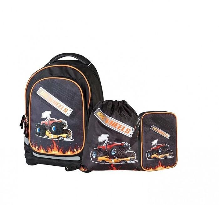 Target Collection Рюкзак супер лёгкий Большие колеса 4 в 1Рюкзак супер лёгкий Большие колеса 4 в 1Target Collection Рюкзак супер лёгкий Большие колеса 4 в 1 имеет яркий рисунок и изготовлен из современных, прочных материалов. Техническими особенностями рюкзака (портфелей) Target Collection является система Flexiball (поясничная поддержка), которая оптимально адаптирована для ребенка.  Ведь самое главное, чтобы ребенок имел правильную осанку во время переноски портфеля. Система Flexiball является новшеством в промышленности, она правильно распределяет вес мешка, автоматически подстраивается под ребенка и поэтому обеспечивает идеальное положение для поясничной поддержки. Во время прогулки, система Flexiball движется вместе с ребенком, за счет гибкого материала уменьшает нагрузку при ходьбе.  Рюкзак содержит 2 больших отделения, закрывающегося на молнию. На лицевой стороне рюкзака расположен большой накладной карман на молнии, а по бокам рюкзака два кармана на резинке. Светоотражающий материал присутствует на передней, боковой и задней части рюкзака, что позволяет сделать вашего ребенка более заметным, а так же обезопасить его не только днем, но и ночью. При создании данной модели  используются улучшенные материалы (3D), которые имеют свойство дышать. Благодаря этим материалам воздух циркулирует, и следовательно, спина  ребёнка не будет потеть. Дополнительно,  имеется грудное крепление-стяжка для фиксации на плечах и поясничное крепление для фиксации на поясе ребенка, они установлены так, чтобы портфель самыми оптимальным образом сидел на на теле ребенка. Правильно используя ремни, вес портфеля распределяется следующим образом: 50% на бедра и 50% на поясничную часть, что ощутимо позволяет уменьшить нагрузку и усилия при ходьбе. Мягкая ручка в верхней части позволяет сделать ношение в руке более удобным и комфортным. Дно портфеля изготовлено из качественного и прочного материала. Внутри  вложенные угловые элементы,  чтобы не было прямого контакта с грунтом и таким образ