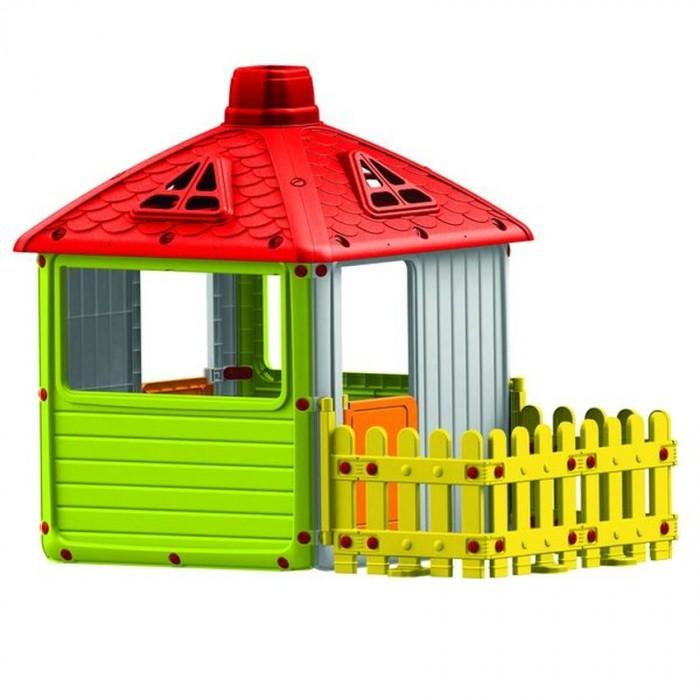 Dolu Игровой домик для улицы Городской дом с ограждениемИгровой домик для улицы Городской дом с ограждениемDolu Игровой домик для улицы Городской дом с ограждением будет отличным местом для игр на свежем воздухе, в котором дети смогут вести свое хозяйство, создавая уют и принимать гостей. Домик довольно просторный, в нем спокойно поместятся двое-трое деток, они смогут продолжить свои игры, даже если за окном идет небольшой дождик или светит слишком яркое солнышко. Так как окошки в домике сквозные и большие (отсутствует стекло), то родители могут всегда наблюдать за играми детей и не переживать, что дети получат какие-то травмы.<br>