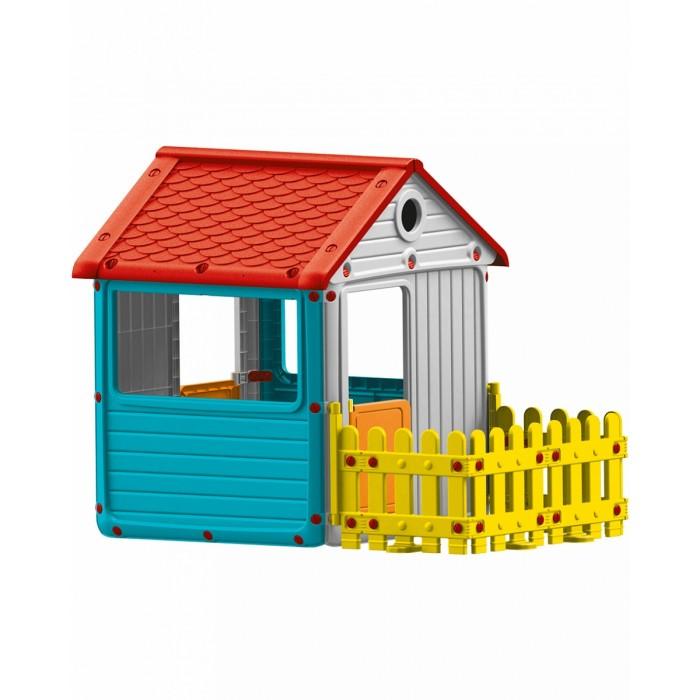 Dolu Игровой домик для улицы с ограждениемИгровой домик для улицы с ограждениемDolu Игровой домик для улицы с ограждением будет отличным местом для игр на свежем воздухе, в котором дети смогут вести свое хозяйство, создавая уют и принимать гостей. Домик довольно просторный, в нем спокойно поместятся двое-трое деток, они смогут продолжить свои игры, даже если за окном идет небольшой дождик или светит слишком яркое солнышко. Так как окошки в домике сквозные и большие (отсутствует стекло), то родители могут всегда наблюдать за играми детей и не переживать, что дети получат какие-то травмы.<br>