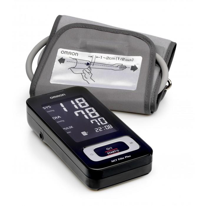 Omron Тонометр Mit Elite PlusТонометр Mit Elite PlusOmron Тонометр Mit Elite Plus с укоренным измерением – бездекомпрессионным методом.  Технология Intellisense – это запатентованная технология интеллектуального измерения, используемая только в тонометрах Omron во всем мире.   Электронные тонометры Omron обеспечивают максимальную точность измерений. Каждый тонометр имеет клинически апробированный алгоритм измерения артериального давления.  Особенности: Подсветка дисплея. Веерообразная манжета 22-32 см – это манжета, форма которой напоминает веер. Манжета обеспечивает равномерное распределение давления на всем участке артерии, находящемся под манжетой. Это является залогом точного результата и сводит к минимуму болевые ощущения от сдавливания руки манжетой. Индикатор аритмии - функция определения нерегулярного сердцебиения. Возможность подключения к компьютеру. Вы можете перенести данные из памяти тонометра в специальную программу.  Индикатор движения. Если во время проведения измерения Вы двигались, на экране появится индикатор движения. Повторите измерение, не двигаясь. Расчет среднего значения 3-х измерений за 10 минут. Индикатор повышенного давления. Объем памяти: 90 измерений с регистрацией даты и времени + гостевой режим.<br>