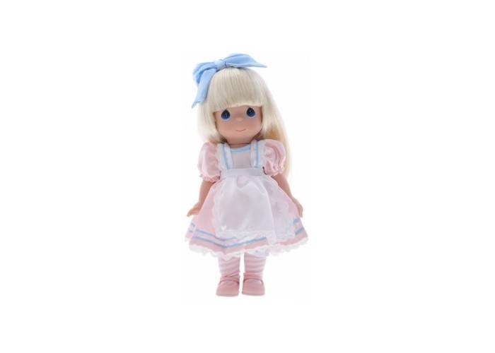 Precious Кукла Алиса 30 смКукла Алиса 30 смКукла Precious Moments Алиса очарует вас и вашу дочурку с первого взгляда!   Кукла одета в розовое платье с белым передником. Под платьем надеты белые панталоны. На ногах Алисы - полосатые гольфы и розовые туфельки. Длинные светлые волосы украшает голубой атласный бант. У девочки большие глаза синего цвета.    Особенности:  Вся одежда съемная.   Кукла изготавливается из качественного, безопасного материала и имеет пять базовых точек артикуляции.   Кукла имеет свой неповторимый образ и характер.   Волосы прошитые, из качественного синтетического волокна или крученых ниток, в зависимости от образа. Рост куклы 30 см.<br>