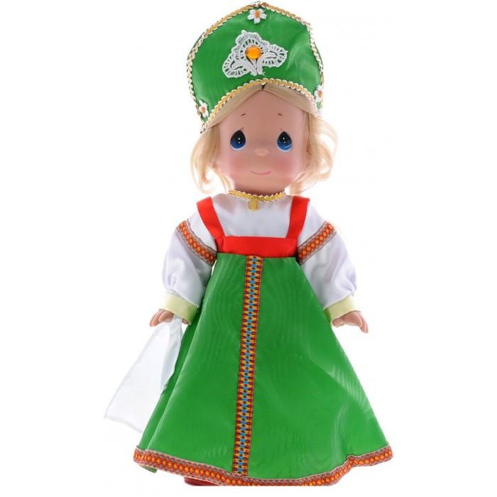 Precious Кукла Варвара 30 смКукла Варвара 30 смКукла Precious Moments Варвара очарует вас и вашу дочурку с первого взгляда!   Кукла  станет отличным подарком для любой девочки на день рождения или другой праздник. Кукла одета в русское народное платье, на ногах - красные туфли. В этом наряде соединились славянские традиции. Светлые волосы Варвары заплетены в косу и украшены атласным белым бантиком. На милом личике большие синие глаза.     Особенности:  Вся одежда съемная.   Кукла изготавливается из качественного, безопасного материала и имеет пять базовых точек артикуляции.   Кукла имеет свой неповторимый образ и характер.   Волосы прошитые, из качественного синтетического волокна или крученых ниток, в зависимости от образа. Рост куклы 30 см.<br>
