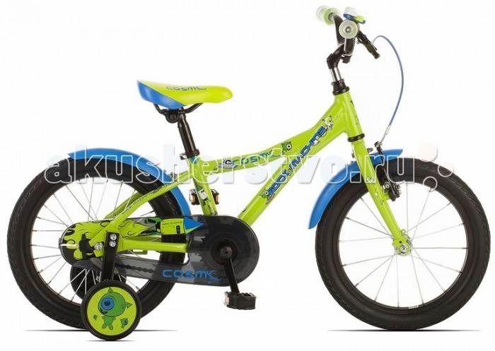 Велосипед двухколесный Rock Machine Cosmic 16Cosmic 16Детский велосипед Rock Mashine Cosmic 16 рассчитан на детей от 3 до 6 лет. На велосипеде есть все чтобы ваши дети могли безопасно кататься. Велосипед оборудован защитными крыльями не дающими испачкаться, защитой цепи и дополнительными колесами для обучения, которые легко снимаются при необходимости. Что ещё нужно для приятного катания Вашего малыша! Форма рамы продумана таким образом, чтобы посадка была максимально удобной для ребенка. Яркая окраска с рисунками долго будет радовать вас и ваших детей.  Технические данные: Рама - Custom Alu 6061.T6, 9 Вилка - steel rigid Рулевая колонка - Подшипники рулевой колонки - VP-732 Руль - steel rised Вынос - steel HF Подседельный штырь - steel LSP8 Седло - Velo VL-5073 Педали - Marvi SP-481SB Тормоза - Promax BL-63G/Saccon alloy v-brake Кассета - 16T Цепь - KMC Z410 Система/Шатуны - Lide DJ521 28T Каретка - Thun Twist JIS Обода - Weinmann VP21 16 Втулки - ONE KT Спицы - Sapim galvanized Покрышки - Impac StreetPac 16x1.75 Вес - 8,5 кг Диаметр колес - 16 Максимальная нагрузка - 50 кг Рекомендуемый рост - 98 см<br>