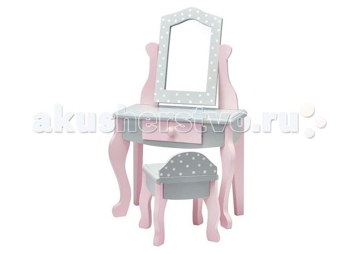 Kids4kids Туалетный столик Мир Принцесс с зеркалом и стульчиком для куколТуалетный столик Мир Принцесс с зеркалом и стульчиком для куколKids4kids Туалетный столик Мир Принцесс с зеркалом и стульчиком для кукол  способен привнести разнообразие в сюжетно-ролевые игры девочки с ее любимыми куколками. Ребенок сможет сделать прическу и макияж своим подопечным. Потрясающей уголок красоты для любимых кукол! Туалетный столик с зеркалом и стульчиком понравится всем куклам и их хозяйкам.   Особенности:  Регулируемое безопасное зеркало вращается в стильной раме, можно расположить так, как куколке будет удобно Выдвижной ящик открывается, в нем можно хранить аксессуары для причесок и свои маленькие детские секреты Гарнитур создан для всех кукол высотой до 46 см Стильный дизайн в серо-розовых тонах впишется в любой интерьер  Игры с куклами и аксессуарами для кукол развивают у детей социальные навыки, логику, фантазию и воображение. А красивые игрушки позволяют сформировать эстетическое восприятие мира Игрушка выполнена из экологически чистого дерева и вручную окрашена безопасными детскими красками Размер игрушки: 28,5 х 16,5 х 48 см<br>