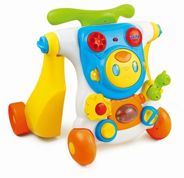 Ходунки Weina каталка 2 в 1 Ride-on Robotкаталка 2 в 1 Ride-on RobotХодунки-каталка Weina 2 в 1 Ride-on Robot предназначены для детей старше 9-ти месяцев. В этом возрасте многие дети делают первые шаги и в этом помогут им ходунки-каталка.   Ходунки имеют удобную ручку, держась за которую, малыш сможет самостоятельно ходить и изучать все вокруг.  Легким движением ходунки трансформируются в каталку, на которую можно сесть верхом и, толкаясь ногами, продолжить свое путешествие по квартире или на прогулке в парке.   Передняя панель представляет собой электронную игрушку с множеством кнопок, трещоток и других световых и звуковых эффектов. Также ходунки имеют регулятор громкости и кнопку включение и отключение звука.  Особенности: Развивающая электронная панель Регулировка громкости звука Кнопка включения/отключения звука Тормозные фиксаторы на задних колёсах Изделие выполнено из высококачественного ударопрочного пластика Батарейки: 2 шт. типа АА (входят в комплект)<br>