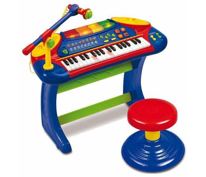 Музыкальная игрушка Weina Пианино со стульчикомПианино со стульчикомЭлектронное пианино развлечет Вашего ребенка!  Отлично подходит для развития музыкальных способностей вашего ребенка. Малыш погрузится на несколько часов в мир музыки.   На пианино можно прослушать демонстрационные мелодии, а также попробовать сочинить и записать свою собственную мелодию. При сочинении своей музыки юный композитор может использовать дополнительные звуковые эффекты, а также придумав слова спеть, все это записать и исполнить перед гостями, например, на домашнем празднике.   Помогите малышу поэкспериментировать с темпом и ритмом, добавьте барабаны, и ваша композиция зазвучит по-новому. Ваш ребенок не останется равнодушным к возможности попробовать каждый раз что-то новенькое.   При нажатии на клавиши пианино они вспыхивают веселыми огоньками. На начальном этапе обучения ребенок может сам отрегулировать удобный для себя темп и ритм. Пианино имеет регулятор громкости.   Пианино устанавливается на ножки и комплектуется стульчиком. Музыкальное пианино разовьет у ребенка музыкальный слух, чувство ритма, поможет развить координацию рук и силу пальцев.  Особенности: Подходит для детей старше 36 месяцев 37 светящихся клавиш 8 ритмов и 8 музыкальных инструментов 4 мелодии барабанной дроби Удобный держатель микрофона Регулятор громкости и темпа Функция автоматического отключения Комплектуется стульчиком Для работы нужны 4 батарейки AA (1.5 В), в комплект не входят<br>