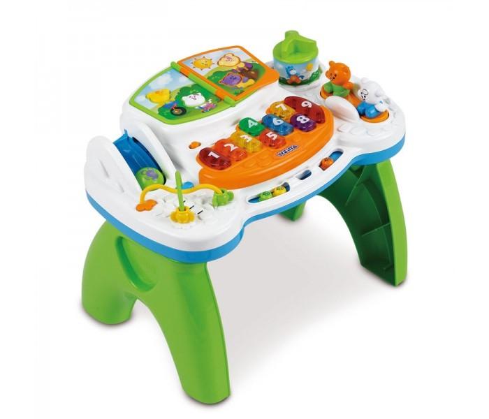 Игровой центр Weina столик музыкальныйстолик музыкальныйИгровой столик Weina предназначен для детей от 9 месяцев. Он поможет вашему малышу развить мелкую моторику рук. Ребенок может научиться переворачивать страницы в книжке.  С игрушкой можно играть как стоя, так и сидя на полу, сняв игровую панель со столика и поместив её на пол. Играя вместе с ребёнком, с помощью элементов игровой панели малыша можно познакомить с цифрами, цветами и формами.   Покрутив карусельку, он услышит мелодию и увидит мигающие веселые огоньки. Маленькие пчелки, долетев до своей тучки, сообщат ему об этом звуковым сигналом. Яркие цвета, разноцветные лампочки и забавные звуки обязательно понравятся малышу и надолго его увлекут. Такая игрушка станет прекрасным подарком Вашему ребёнку!  Особенности: Развивает мелкую моторику рук Знакомит ребенка с цифрами и цветами Звуковые и световые эффекты Регулировка громкости звука Кнопка включения/отключения звука Съёмная игровая панель Изделие выполнено из высококачественного ударопрочного пластика Батарейки: 2 шт. типа АА (входят в комплект)<br>