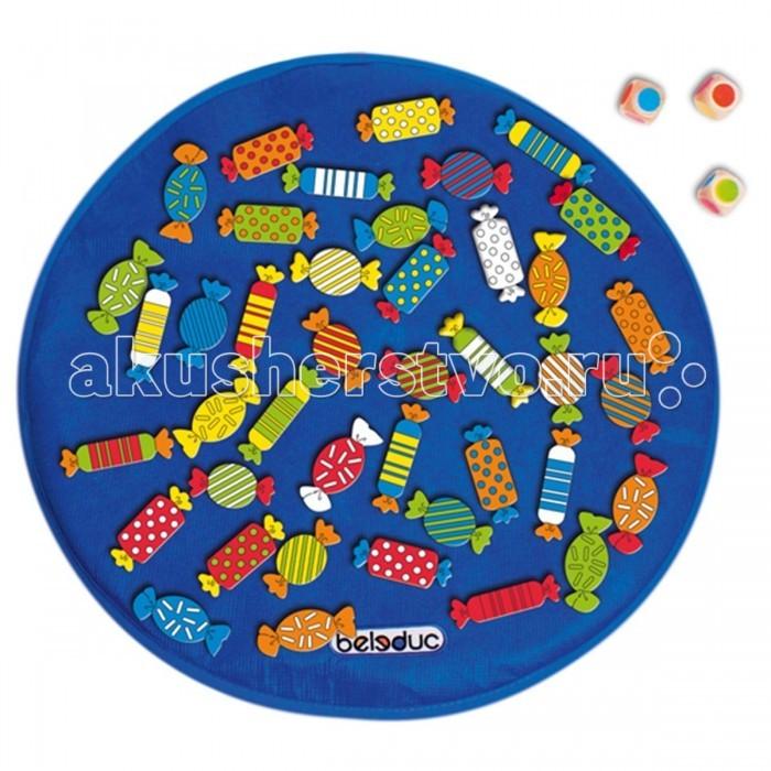 Деревянная игрушка Beleduc XXL КонфетыXXL КонфетыBeleduc Развивающая игра XXL Конфеты - с помощью этой игровой викторины ребенок научиться распознавать и называть цвета, комбинировать цвета, выделять первичные и вторичные цвета. Игра способствует развитию логического мышления, произвольного внимания, учит различать предметы по цвету, форме и размеру, развивает мелкую моторику рук.  Для игры используются 3 кубика с цветными символами. В зависимости от выпавшей цветовой комбинации игроки выбирают конфеты с соответствующей расцветкой.   В комплекте 45 деталей 41 фигура в форме конфеты игровое поле из текстиля 3 кубика Особенности:  игрушка выполнена из экологически чистого материала - имеет гладкую, отполированную поверхность окраска нетоксичными и не содержащими вредных веществ красками на водной основе 3 варианта ведения игры Размер игрушки: игровое поле диаметр 45 см, одна конфета 7 х 2,5 см<br>