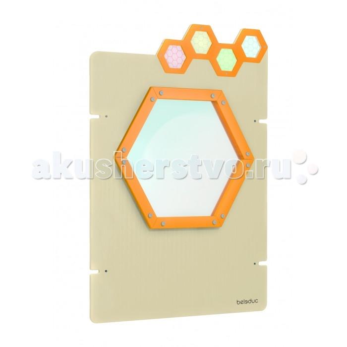 Деревянная игрушка Beleduc Настенный игровой элемент Пчелы. СотыНастенный игровой элемент Пчелы. СотыBeleduc Настенный игровой элемент Пчелы. Соты с передвижными элементами на панели.  Прозрачное окошко в форме пчелиной соты можно красиво разрисовать разноцветными маркерами, мелками или акварельными красками.   Изготовлен игровой элемент из экологически чистого материала - дерева, покрытого натуральным лаком. Поверхность элемента гладкая, приятная на ощупь. Для надежного крепления на стене предусмотрены боковые выступы.  Размеры игры: 75 х 118 см<br>