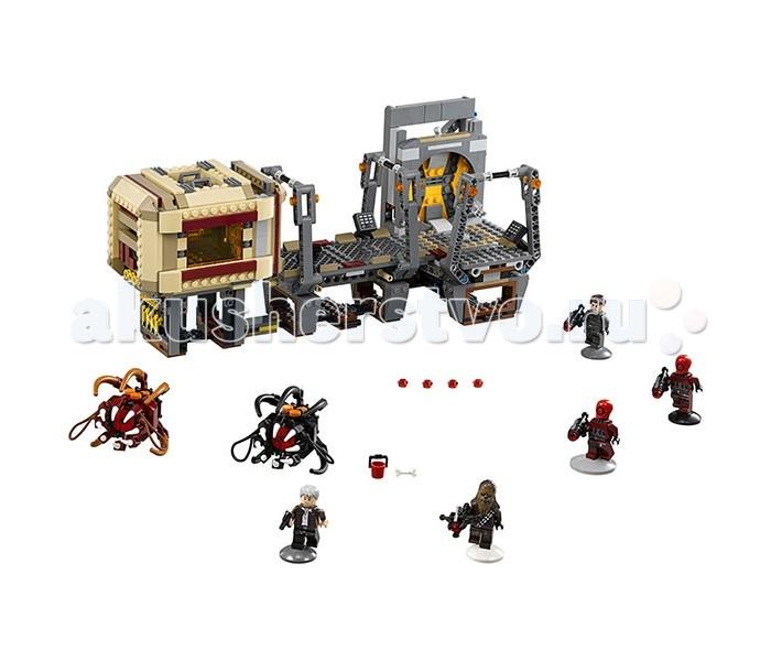 Конструктор Lego Звездные войны Побег Рафтара 836 элементовЗвездные войны Побег Рафтара 836 элементовКонструктор Lego Звездные войны Побег Рафтара 836 элементов 75180 вызовет восторг у поклонников легендарной космической саги. Грандиозный набор включает в себя фрагмент фантастического корабля, оснащенного несколькими игровыми зонами, пять мини-фигурок, два рафтара и дополнительные аксессуары, среди которых оружие, запасные снаряды, ведерко и кость для кормления монстров.  Благодаря потрясающему набору Star Wars, ребенок воссоздаст любимые эпизоды фильмов, а также придумает множество собственных сюжетов. Мальчику предстоит разыграть сцены противостояния Хана Соло и отважных пиратов, совершивших нападение на грузовой корабль Эравана.  Основные функциональные особенности набора Rathtar Escape заключаются в космическом корабле, который оснащен подвижной дверью, разделяющей коридоры, специальным механизмом, открывающим клетку с монстрами, а также потайной дверью, ведущей в загадочные технические коридоры корабля. Следует отметить, что конструкцию фантастического летательного аппарата можно перестраивать, соединяя отдельные блоки на свое усмотрение. Мини-фигурки имеют подвижные элементы и специальные выемки на ручках, обладают мощнейшим оружием и производят невероятное впечатление благодаря высокому качеству исполнения, что делает персонажей легко узнаваемыми и превращает игру в увлекательный и захватывающий процесс.  Детали конструктора от бренда Лего выполнены из высококачественной пластмассы, устойчивой к повреждениям. Использованные красители гипоаллергенны и абсолютно безвредны для здоровья ребенка.<br>