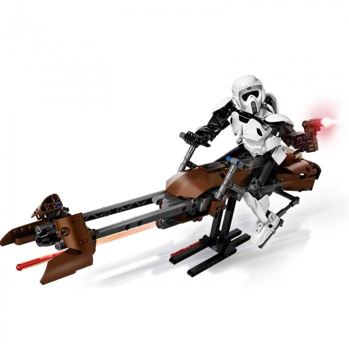Конструктор Lego Звездные войны Штурмовик-разведчик на спидере 452 элементаЗвездные войны Штурмовик-разведчик на спидере 452 элементаКонструктор Lego Звездные войны Штурмовик-разведчик на спидере 452 элемента 75532 состоит из пластмассовых деталей разных форм и цветов. Набор впечатлит поклонников космической саги, ведь он позволяет собрать фигурку штурмовика-разведчика, управляющего летательным аппаратом. У фигурки двигаются ручки и ножки, что позволяет игрушке принимать разные позы. Руки фигурки сгибаются в локтевых суставах. Фигурку можно помещать на сиденье космического байка.  В ручки воина вставляется бластер. Игрушечный боец-разведчик может стоять на ровной поверхности. Дизайн космического штурмовика напоминает внешний облик своего прототипа. У спидера есть двигающиеся элементы. Благодаря подставке, собранной из деталей конструктора, байк устойчиво стоит. Детали конструктора изготовлены из качественных материалов, они отлично подогнаны друг к другу. Набор Scout Trooper & Speeder Bike совместим с другими конструкторами из серии Star Wars.   Размеры: Высота штурмовика-разведчика стоя: 24 см Размер спидер байка: 42 х 16 х 11 см<br>