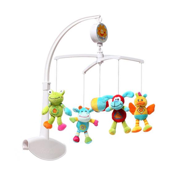Мобиль BabyOno ЗверятаЗверятаМобиль BabyOno предназначен для самых маленьких малышей. Помогает им в развитии фиксирования зрения на движущихся предметах, улучшает засыпание. Цветные игрушки привлекут его внимание, а звук мелодии позволит ребёнку успокоиться. Благодаря специально запроектированному креплению карусель можно устанавливать как в туристической, так и в деревянной кроватке.  Развивающая: развивает осязательные, зрительные и двигательные способности учит различать формы и цвета стимулирует воображение ребёнка звуки мелодии развивают способность различать силу звука  Универсальная: подвижные элементы, разнообразные цвета и формы вызывают интерес и привлекают внимание ребёнка оказывает успокаивающее действие, помогая заснуть имеет универсальное крепление для кроваток  Размер в собранном виде 56.5 см.<br>
