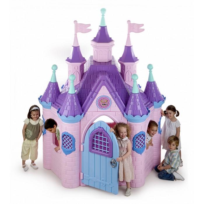 Feber Супер дворецСупер дворецFeber Супер дворец - красивый дворец для маленькой принцессы и ее подданных.   Яркие цвета, множество башенок и кружевных окошек помогут девочке осуществить свою мечту и почувствовать себя сказочной принцессой.Просторный и высокий замок сделан из сверхпрочного пластика, устойчив к действию солнечных лучей и перепаду температур.  С высокой крышей с флажками, красивой дверцей и часами над входом.  Во дворце имеется дверь со звонком, запором, три окошка.  Материал: пластмасса Размер (Ш х Г х В): 145 х 186 х 248 см.  Габариты упаковки: 123 х 102 х 100 cм. Вес: 73 кг. Возраст: от 2 лет<br>
