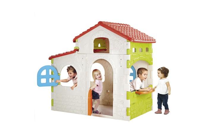 Feber Дом игровойДом игровойFeber Дом игровой с террасой способен вместить небольшую компанию детей - часть из них расположится на уютной террасе с распашными двустворчатыми дверцами, часть - в самом домике или на улице под окном с кухонным уголком.   В домике много окошек самой разной формы, два из которых оснащены открывающимися ставнями. Он очень легко собирается и компактен при перевозке.  Особенности: Стены домика кирпичные, крыша черепичная В доме 1 этаж Состоит из одной большой комнаты и пристройки-веранды В домике много окон самой разной формы, среди них одно со столиком-подоконником и два с закрывающимися ставнями В домик ведет дверь в голландском стиле с прорезью-почтовым ящиком, на террасе две распашные дверки Стены домика кремовые, красные и салатовые, крыша и дверки на террасе красные, главный вход салатовый Игровые элементы: Прорезь-почтовый ящик в двери Удобный столик-подоконник В комплекте: элементы дома, инструкция по сборке Размер: занимаемая домом площадь - 200 х 154 см, высота - 161 см Материал: сверхпрочный гипоаллергенный пластик Размер: 154 x 200 x 161 см Размер упаковки: 86.5 x 113 x 51 см Вес: 44 кг.  * Производитель оставляет за собой право вносить изменения в цветовую гамму и комплектацию товара без дополнительного уведомления!<br>