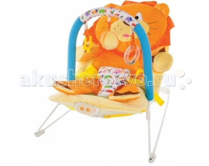 Жирафики Детское кресло-качалка ЛьвенокДетское кресло-качалка ЛьвенокЖирафики Детское кресло-качалка Львенок с 3-мя развивающими игрушками, вибрацией и музыкой создан для младенцев. Этот замечательный шезлонг родители малыша оценят по достоинству, а ребенку в нем будет комфортно и интересно.  Изделие выполнено из высококачественного материала, безопасного для ребенка. Качалка имеет анатомическое кресло, в котором малыш находится в положении полулежа, что безвредно для неокрепшего позвоночника карапуза.  Кроме того, шезлонг имеет режим вибрации, при включении которого ребенок успокаивается. Также в кресло встроена музыка, отвлекающая кроху от капризов, а симпатичные игрушки, свисающие с дуги, будут развлекать ребенка.  Этот отличный шезлонг станет незаменимой вещью для молодой мамы и даст ей возможность заняться другими делами.<br>