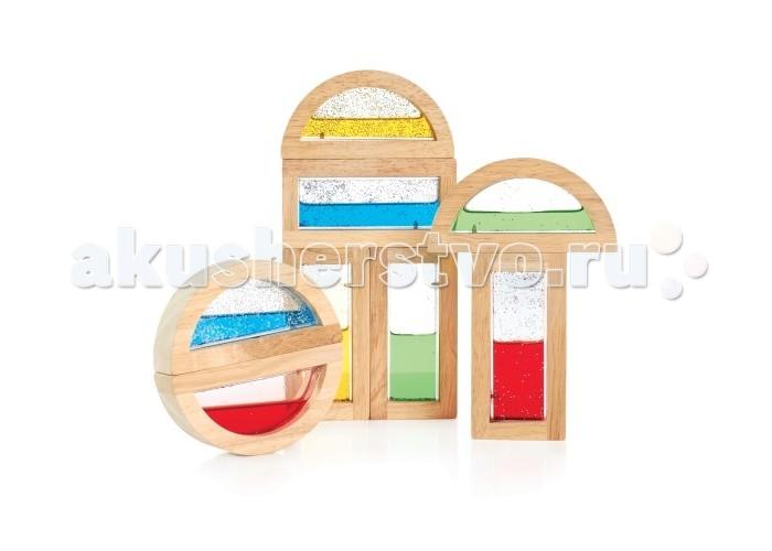 Деревянная игрушка Guidecraft Сортер Rainbow Blocks - Shimmering WaterСортер Rainbow Blocks - Shimmering WaterGuidecraft Сортер Rainbow Blocks - Shimmering Water Радужные блоки - мерцающая вода, малыш может сортировать блоки по цвету и форме, составлять из них конструкции, в том числе и подвижные благодаря полукруглым блокам.   Блоки-рамки сделаны из экологически чистой, гладкои&#774; древесины твердых пород, со вставками из безопасного прозрачного цветного акрила. Пространство внутри блока заполнено цветной жидкостью с добавлением блеск, для более ярких впечатлений от игры. Блоки совместимы со стандартными блоками серии по размерам.   В набор входит 4 прямоугольных и 4 полукруглых блока Возраст 2+.<br>