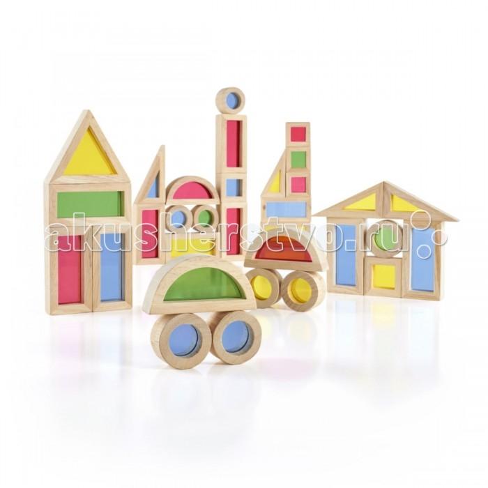 Деревянная игрушка Guidecraft Сортер Jr. Rainbow Blocks - Радужные блоки мини набор 40 деталей