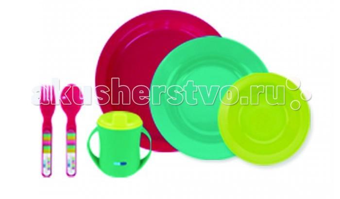 Bebe Due Детский столовый набор 6 предметовДетский столовый набор 6 предметовBebe Due Детский столовый набор 6 предметов - яркий, приятный, практичный набор посуды для детей. Ударопрочный, гипераллергенный, не содержит токсичных веществ.   Выполнен из высококачественного полипропилена не содержит Фталаты (резкий запах резины), Бисфенол А. Можно мыть в посудомоечной машине, подходит для печей СВЧ.   В наборе: чашка 2 в 1, малая тарелочка, плоская тарелочка, глубокая тарелочка, набор столовых приборов ложка и вилка (анатомические, специально предназначенные для малышей).<br>