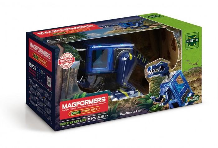Конструктор Magformers Магнитный Dino Rano set (15 деталей)Магнитный Dino Rano set (15 деталей)Magformers Магнитный конструктор Dino Rano set - это возможность собрать большого и грозного тираннозавра, которого вы наверняка видели в фантастических фильмах. Он легко складывается из магнитных элементов.  Фигурка дополняется подвижными частями тела тираннозавра — головой, лапами и хвостом. Играть с ним — весело и увлекательно, динозавр ходит, крутит хвостом и головой. Ярко-синий, с крупной челюстью и лапами на колесиках, он выглядит свирепо, как настоящий тираннозавр. Игрушка поможет узнать больше о доисторических временах, когда людей еще не было на планете.  Конструктор просто собирать и разбирать, он яркий, красивый, так что игра с ним подарит массу эмоций ребенку. Магниты укреплены внутри деталей особым образом, который позволяет им поворачиваться друг к другу нужной стороной. В результате детали всегда притягиваются, и строить из них легко и удобно. В конструкторе используются самые сильные в мире неодимовые магниты, они повышают прочность построек.  Конструктор обладает уникальным развивающим потенциалом и подходит для игры и занятий с самого раннего возраста. Конструктор развивает интеллект и воображение ребенка, математические способности и логику, память и внимание. Работа с деталями улучшает мелкую моторику, а постройка объемных фигур развивает пространственное и абстрактное мышление. Возможности для раскрытия творческих способностей ребенка с Магформерс практически безграничны: из магнитных деталей можно собрать самые невероятные и фантастические модели.  Детали конструктора изготовлены из прочного непрозрачного пластика, который нелегко сломать и взрослому человеку. Ваш ребенок не поранится острыми краями обломков и не доберется до маленьких магнитов внутри!    Играть с таким конструктором весело и безопасно!  В состав набора входят:  Квадрат — 2 шт. Прямоугольник — 4 шт. Голова Рано — 1 шт. Левая задняя нога Рано — 1 шт. Правая задняя нога Рано — 1 шт. Пер