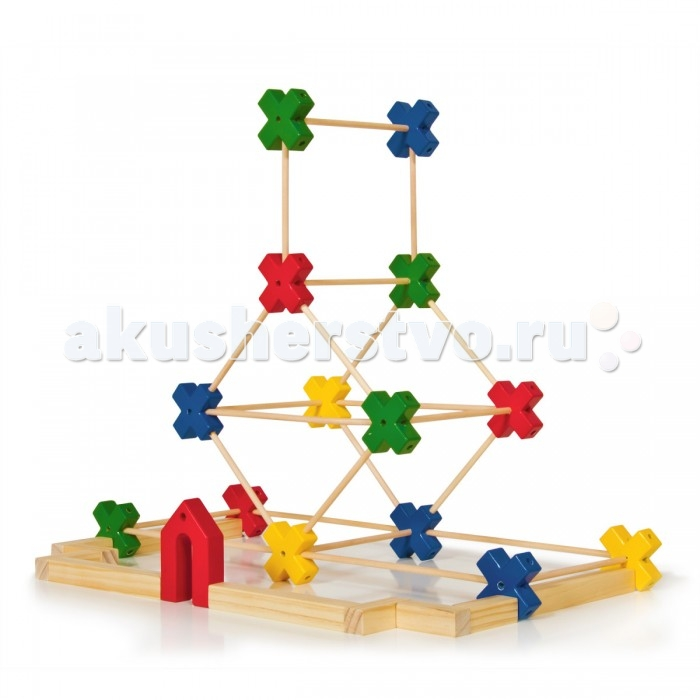 Деревянная игрушка Guidecraft Конструктор Texo 65 деталейКонструктор Texo 65 деталейGuidecraft Конструктор деревянный Texo 65 деталей система 3-х мерного конструирования для детей от известного архитектора Лестера Уокера. В одном наборе сразу несколько игр: простой пазл, сортер по форме и цвету, конструктор с постепенным изменением сложности конструкций от укладки взаимосвязанных форм до строительства мостов, домов и небоскребов.   Пластиковые стержни и балки из дерева твердых пород, в сочетании с геометрически точными пластиковыми коннекторами, раскрывают потенциал архитектора и конструктора. Возраст 3+.<br>
