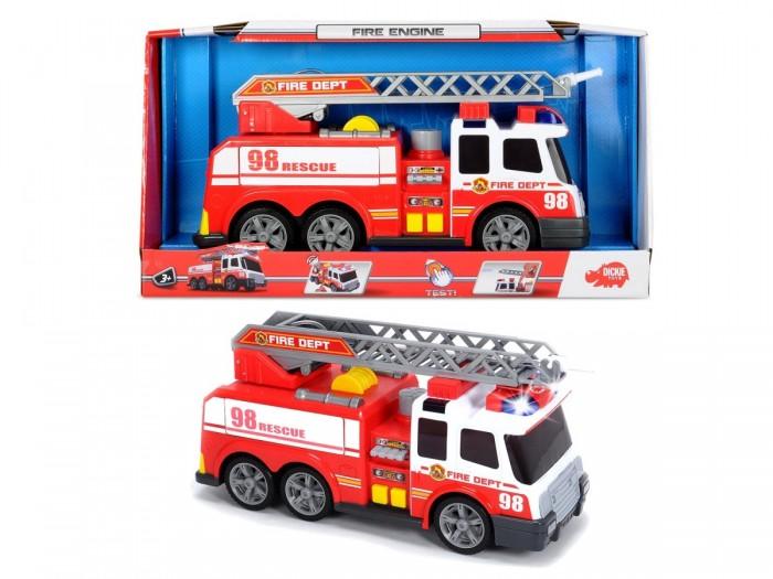 Dickie Пожарная машина 37 смПожарная машина 37 смФункциональной автомобиль пожарной службы с выдвижной лестницей и резервуаром для воды с механической помпой.   Имеет световые и звуковые предупредительные сигналы.  Работает от 2 х АА батареек, идут в комплект.<br>