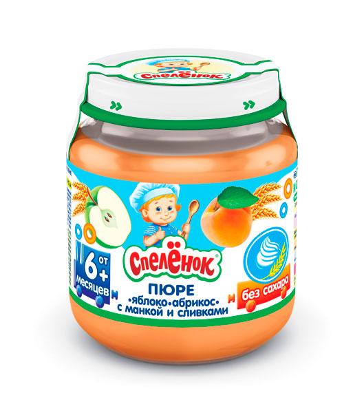 Пюре Спеленок Пюре Яблоко-абрикос с манкой и сливками с 6 мес. 125 г пюре спеленок пюре яблоко морковь со сливками с 6 мес 125 г