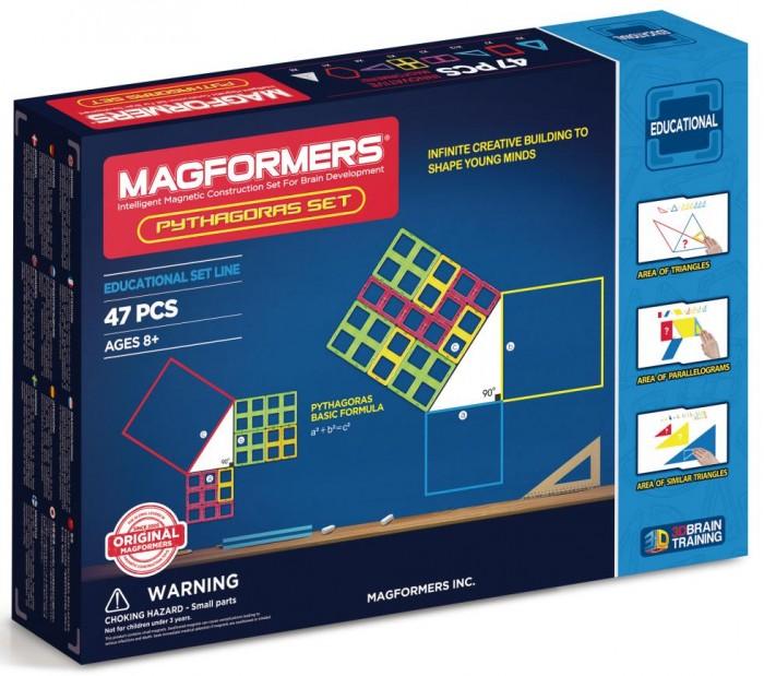Конструктор Magformers Магнитный Pythagoras Set 63113Магнитный Pythagoras Set 63113Магнитный конструктор Magformers Pythagoras Set 63113.  Радость для юных математиков и их родителей! На рынке появился новый набор — «Magformers Pythagoras Set», или же Magformers Пифагор — уникальная возможность совместить игру с обучением.  В этом наборе Вы найдёте все самые важные геометрические формы: разнообразные треугольники, квадраты, прямоугольники, шестиугольник и даже пирамиды. Помимо магнитных элементов в набор включены 11 плотных листов формата А1, А2, А4 с различными интересными заданиями-головоломками по геометрии.  Производителем заявлена возрастная категория 8+, но это вовсе не потому, что набор содержит мелкие детали или же может быть каким-то образом опасен для малышей — вовсе нет. Это сделано только из-за присутствия в наборе математических заданий, которые просто не по силам детям младшего возраста. То есть, приобретая этот многогранный набор старшим, можно абсолютно не бояться за младших братиков и сестричек!  Набор Magformers Pythagoras Set содержит 47 элементов: - 9 треугольников - 7 квадратов - 4 равнобедренных треугольников - 12 прямоугольных треугольников - 3 суперквадрата - 3 прямоугольника - 1 шестиугольник - 8 треугольных светорассеивающих пирамид.  Материал: прочный пластик, магнит Размер упаковки: 44 x 32 x 5 см Вес: 1,6 кг<br>