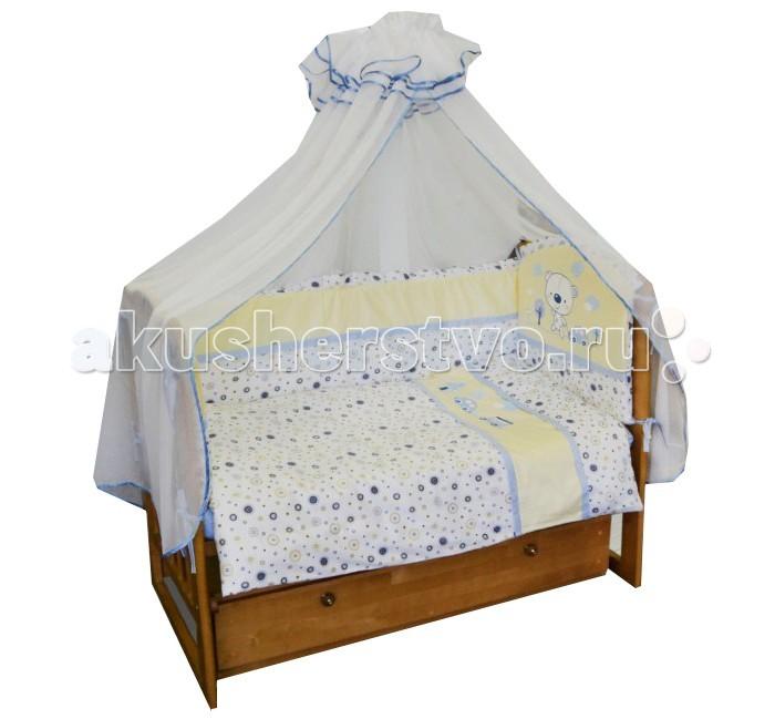 Комплект в кроватку Soni Kids Бип-Бип (6 предметов)Бип-Бип (6 предметов)Очень красивый высококачественный комплект в кроватку, состоящий из 7 предметов.   Ткань: сатин.  Состав: 100% высококачественный хлопок.  Наполнитель: холлофайбер. Балдахин: вуаль п/э.  Размеры: Пододеяльник- 140х110  Простынка на резинке - 150х90 Наволочка -60х40  Одеяло -140х110  Подушка -60х40  Бортик -360х44<br>