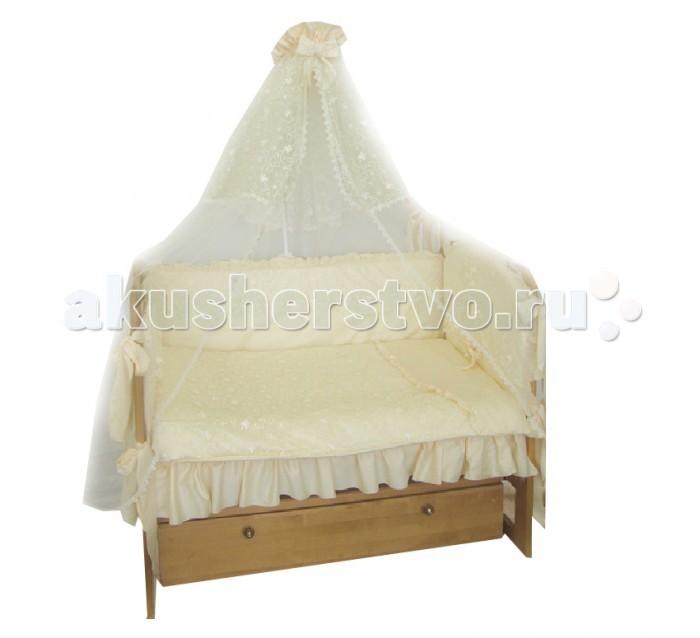 Комплект в кроватку Soni Kids Чайная роза (7 предметов)Чайная роза (7 предметов)Очень красивый высококачественный комплект в кроватку, состоящий из 7 предметов.   Ткань: сатин.  Состав: 100% высококачественный хлопок.  Наполнитель: холлофайбер. Балдахин: вуаль п/э.  Размеры: Пододеяльник- 140х110  Простынка на резинке - 150х90 Наволочка -60х40  Одеяло -140х110  Подушка -60х40  Бортик -360х44<br>