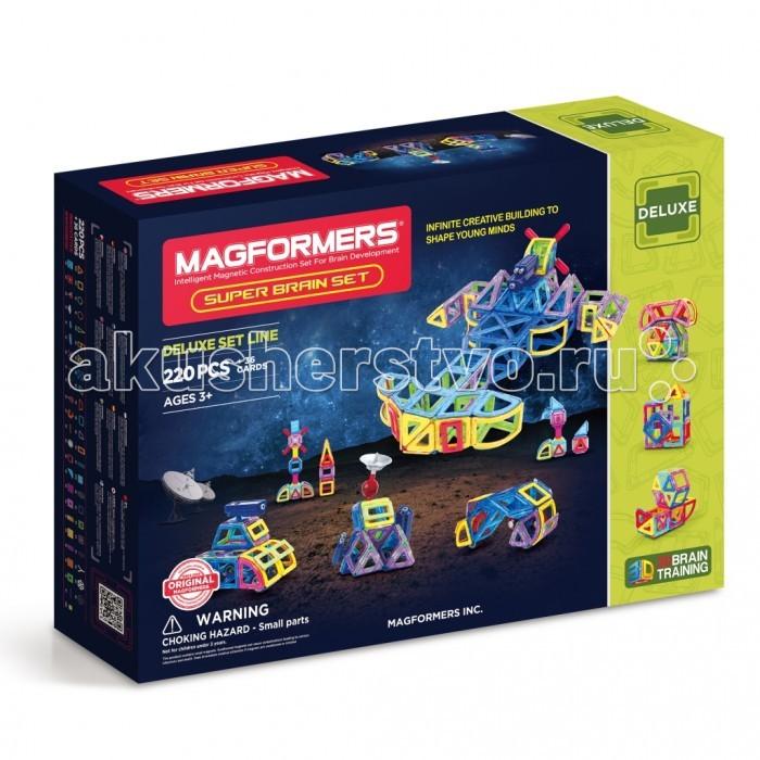 Конструктор Magformers Магнитный Super Brain Up Set 63088Магнитный Super Brain Up Set 63088Магнитный конструктор Magformers Super Brain Up Set 63088 состоит из 220 деталей + 36 бонусных квадратных вставок. В состав «Magformers Super Brain Up» помимо стандартных, входят новые детали – арки, сектора, маленькие прямоугольники, супер прямоугольники, специальные аксессуары.   Это кардинально новый подход к строительству машин, самолетов, вертолетов и межпланетных кораблей. «Magformers Super Brain Up» объединяет почти все основные средние наборы, включая новинки.  Итак, что же позволит вам делать этот набор?  Во-первых, карусели - в составе есть специальное основание и крепление для карусели. Причем карусели будут подвижными, в них можно раскручивать пассажиров, ведь в набор входят фигурки мальчика и девочки, которые закреплены на специальных креслах и помещены в квадраты.   Во-вторых, вы сможете делать не только машины, но и различную строительную технику. В набор входит подвижная фигурка строителя,  специальные блоки, шарниры и крепления, которые позволят сделать настоящий трактор с ковшом или подъемный кран с веревочным блоком.  В-третьих, мир авиации, военной техники и космических станций, ракет и прочего будет также доступен для вас, ведь в наборе есть специальные аксессуары для этого - пропеллер, антенны, пушка и специальные блоки, чтобы делать детали подвижными. Также будет не проблемой создать настоящий и такой популярный среди мальчишек робот-трансформер. В общем, это просто потрясающий набор!  Набор Magformers Super Brain Set содержит 220 элементов.<br>