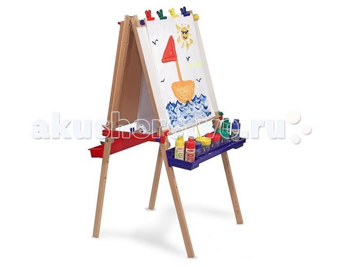Melissa &amp; Doug Мольберт для рисованияМольберт для рисованияМольберт для рисования Melissa & Doug двусторонний, регулируемый по высоте - одна сторона деревянная для рисования мелками, вторая для рисования фломастерами. У доски 2 специальные полочки для мелков, красок, фломастеров, других мелочей и 4 зажима  Компания Melissa&Doug придерживается самых высоких стандартов качества и безопасности детских образовательных продуктов для детей. Melissa & Doug - это один из ведущих брендов деревянных игрушек, используемые компанией покрытия и красители нетоксичны.<br>
