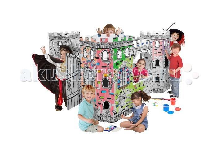 CartonHouse Игровой домик Картонный раскраска КрепостьИгровой домик Картонный раскраска КрепостьКартонный домик Крепость - отличный продукт для совместного детского творчества в детских садах, школах, кружках, а также для родителей и детей.   Домик легко и компактно складывается если не используется и так же быстро собирается в нужный момент. Дети могут устанавливать домики самостоятельно, либо вместе с родителями.  Это увлекательно и весело, сначала построить домик своими руками, а затем его раскрасить.  Игровой домик изготавливается из плотного картона, его легко собрать и разобрать снова.  На его стенах можно рисовать любыми карандашами, фломастерами и красками.  Размер 177х177х110 см Вес 9.7 см<br>