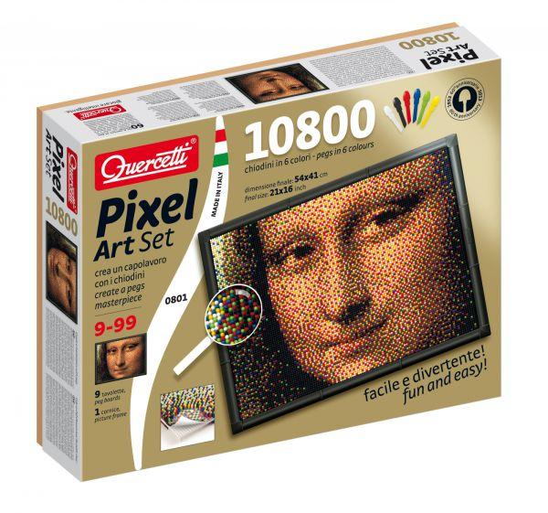 Quercetti Пиксельная мозаика Джоконда (10800 элементов)Пиксельная мозаика Джоконда (10800 элементов)Создайте поразительное произведение искусства из деталей мозаики! Кладите направляющий лист на наборную доску и вставляйте детали сквозь этот лист, строго следуя цветам квадратиков-пикселей.   В комплекте детали всего лишь 6-ти цветов, но если Вы посмотрите на получившуюся картину с некоторого расстояния, то увидите другие цвета и оттенки, как будто смотрите на фотографию. Таким образом срабатывает принцип пространственного смешения цветов (оптическое смешение цветов, основанное на волновой природе света). Этим принципом пользовались в пуантилизме - направлении живописи, которое появилось в 19 веке. Также этот принцип работает и в печати.  Особенности: высококачественная пластмасса ярких сочных оттенков игрушка предназначена для детей от 10-ти лет поможет ребенку развить координацию движений и мелкую моторику в комплекте 10800 деталей 6-ти цветов, 9 соединяющих плат, 1 фоторамка, 9 шаблонов карт, 1 плакат, инструкции пластиковые элементы можно мыть упакована в красочную коробку<br>