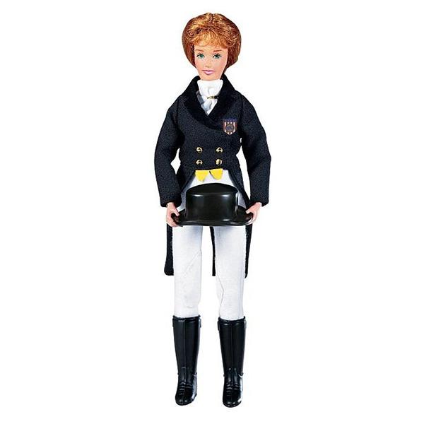 Breyer Кукла Меган в одежде для выездкиКукла Меган в одежде для выездкиКукла Меган в одежде для выездки станет замечательным дополнениям к моделям лошадей Breyer из серии Traditional. Благодаря шарнирным конечностям куклу можно посадить в седло и придать ей практически любое положение. Кукла одета в специальный костюм для соревнований по выездки, поэтому будет хорошо смотреться на лошади в выездной амуниции.  В набор входит: кукла Меган в черном рединготе с эмблемой клуба белая рубашка галстук цилиндр белые бриджи черные сапоги   Все изготовлено из высококачественных материалов, экологично и абсолютно безопасно.   Рекомендовано детям от 4 лет.   Масштаб 1:9   Размер куклы 20 см  Помимо игровых и коллекционных моделей лошадей Breyer разработали целый ряд разнообразных аксессуаров, позволяющих сделать игру еще более интересной и увлекательной, и создавать целые сценки из жизни любимых лошадок на полке у ребенка.<br>