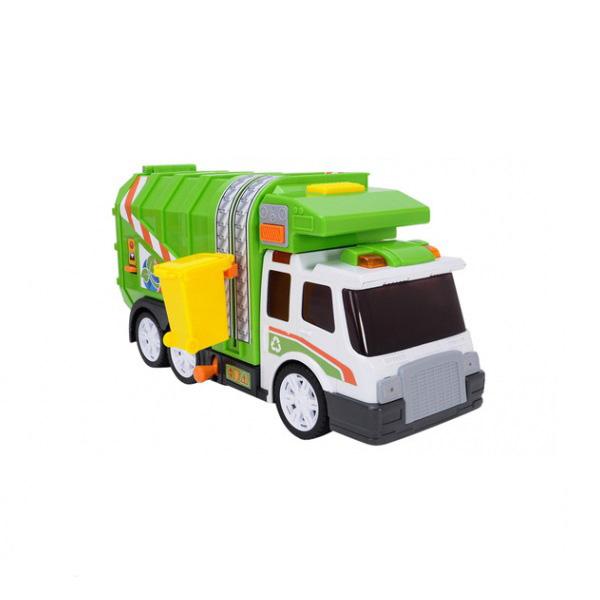 Dickie Мусоровоз функциональный 3308357Мусоровоз функциональный 3308357Dickie Мусоровоз функциональный - уникальная игрушка со световыми и звуковыми эффектами в комплекте с урной, которая крепится к машинке. Научит Вашего ребенка чистоте и порядку!  Функциональный мусоровоз с боковым лифт-опрокидывателем, для мусорных контейнеров работает также, как и настоящий!  Яркая игрушка выполнена из высококачественных экологически чистых материалов, безопасных для детей.  работает от батареек 2хАА (в комплекте).<br>