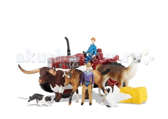 Breyer Игровой набор На ферме с трактором, домашними животными и людьмиИгровой набор На ферме с трактором, домашними животными и людьмиВсе животные линейки Stablemates являются игровыми моделями. Это не только лошади, но и быки, ламы, кошки и собаки, которые, несмотря на свои миниатюрные размеры, похожи на реальных животных. Яркие и красивые, сделают первое знакомство ребенка с миром домашних животных веселым и запоминающимся.  В набор На Ферме входят: Фермер Фермерша Лошадь Техасский бык Лама Лебедь Колли Кипа сена Трактор   Все изготовлено из высококачественных материалов, экологично и абсолютно безопасно.    Рекомендовано детям от 4 лет.<br>