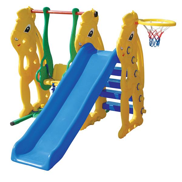 Pilsan Игровой комплекс с горкой ЗаяцИгровой комплекс с горкой ЗаяцЭтот замечательный многофункциональный комплекс – настоящая находка для счастливых родителей активных детишек! Устойчивая, крепкая конструкция, выполненная из высококачественного прочного пластика, абсолютно безопасная для детей. Комплекс можно устанавливать на любой поверхности.  Характеристика: комплекс включает: качели, горку и баскетбольную корзину горка и качели могут быть установлены с разных сторон рассчитан на детей возрастной категории 1-5 лет максимальный вес ребенка составляет – 35 кг горка оборудована ступеньками для подъема и имеет большой спуск качель оснащена защитным бампером и 3-точечным ремнем безопасности, который надежно удерживает малыша выполнен из экологически безопасного прочного пластика соответственно самым высоким стандартам безопасности размеры комплекса: высота - 125 см, длина спуска составляет - 142 см, ширина составляет 185 см  В собранном виде размеры составляют: 190 х 125 х 170 см<br>