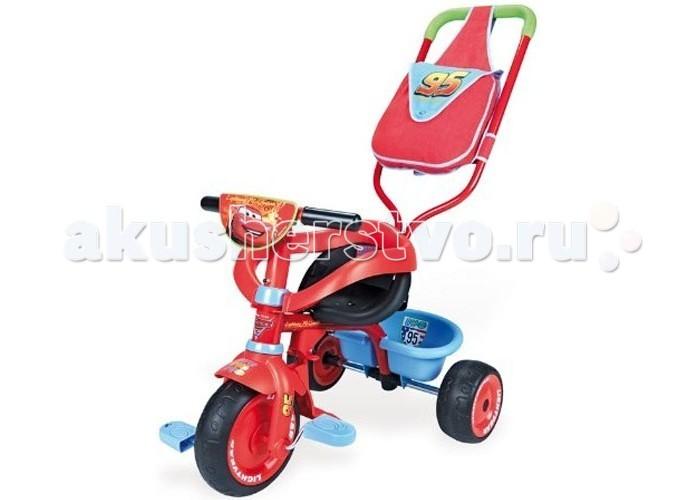 Велосипед трехколесный Smoby Be Fun Confort Cars 2Be Fun Confort Cars 2Выполнен в стиле самого любимого и знаменитого мультфильма «Тачки», который не только понравится вашему малышу, но и станет для него незаменимым другом. Трехколесный велосипед является многофункциональным и трансформирующимся, который может, меняться по росту вашего ребенка.   Если ребенку только 12 месяцев, то его можно использовать в виде прогулочной коляски или простой каталки. А если ребенку 24 месяца, то данный трансформер можно использовать как велосипед. Сидение велосипеда может регулироваться в трех положениях.   Яркий велосипед – трансформер полностью безопасный, потому, что изготовлен из термоустойчивого пластика. Благодаря этому велосипеду ваш ребенок сможет улучшить координацию движений, а также выработать навыки вождения и укрепить мышцы ног.  Характеристики: изготовлен из экологически чистого упрочненного пластика с элементами из металла, резины  рекомендуется для детей от 12 месяцев съемный барьер безопасности ручка регулируется по высоте в 3-х положениях сиденье меняет положение, двигаясь вперед к рулю и назад по мере того, как растет нога ребенка  мягкие и бесшумные резиновые колеса ремень безопасности очень простая и надежная технология нескользкие резиновые ручки руля  багажная корзинка регулируемая подножка колесо может двигаться независимо от педалей сумка для аксессуаров – стильная и удобная, которая может как крепиться к ручке велосипеда, так и одеваться на плечо управляющего им выполнен по мотивам замечательного мультфильма Тачки  Размеры велосипеда: (вxдхш) 95х50х89 см Вес: 5 кг<br>