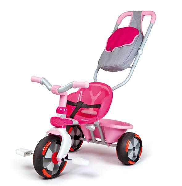 Велосипед трехколесный Smoby Baby Driver VBaby Driver VМногофункциональный трехколесный велосипед трансформируется по росту ребенка: с 12 месяцев его можно использовать как обыкновенную каталку и прогулочную коляску. С 24 месяцев, когда малыш уже подрос и готов к самостоятельным действиям, трансформер используется только как велосипед. Велосипед-трансформер изготовлен из металла и безопасного, термоустойчивого пластика, способного удерживать перепады температуры от -40 С до +40 С. Велосипед помогает ребенку улучшить координацию движений и укрепить мышцы ног, вырабатывает первые навыки вождения.  Характеристики: изготовлен из экологически чистого упрочненного пластика с элементами из металла, резины  рекомендуется для детей от 12 месяцев металлическая рама ограничение поворота руля - для большей устойчивости наклон руля регулируется блокировка руля уникальное сиденье с боковыми барьерами - очень удобно и безопасно мягкие и бесшумные резиновые колеса переднее колесо оснащено муфтой свободного хода (малыш держит ноги на педалях как на подножках, если велосипедом управляет и толкает мама) педали могут идти на холостом ходу задние колеса оснащены стояночным тормозом оснащен светоотражающими катафотами ручка регулируется по высоте регулируемые ремни безопасности сиденье меняет положение, двигаясь вперед к рулю и назад по мере того, как растет нога ребенка откидная корзинка для перевоза игрушек удобная и вместительная сумка для родителей   Размеры велосипеда: (вxдхш) 70х50х52 см Вес: 5 кг<br>