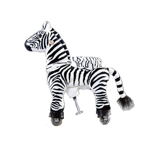 Каталка Ponycycle Зебра малая 3012Зебра малая 3012Каталка Ponycycle Зебра малая 3012 - игрушечная зебра, оснащенная колесиками и особым механизмом, который позволяет прокатиться на ней и создает ощущение верховой езды. Ваш ребенок, как настоящий наездник, сможет скакать дома или на улице и получит впечатления, как от прогулки на настоящей лошадке.  Зебра выглядит и движется как настоящая!  Особенности: Возраст от 2 до 4 лет Максимальная нагрузка: 25 кг. Высота посадки: 45 см. Высота в холке: 72 см. Расстояние от сиденья до педалей-стремян - 26 см Размеры: 69х29х78 см.  Катание на Зебре: Что бы привести в движение эту очаровательную лошадку достаточно просто сесть в седло, а затем привстать на педали-стремена. Лошадка полностью механическая, и приходит в движение за счет переноса центра тяжести ребенка. Чем чаще ребенок садится на седло и привстает на педали, тем быстрее мчится Поницикл.  Во время движения ребенок держится за удобные ручки на шее лошадки, а поворачивая их, как руль велосипеда, управляет направлением движения. Движение ног и повороты головы Зебры полностью подражают действиям животных в движении.  Лошадка является не только великолепным развлечением, но и прекрасным тренажером. Катание на ней это не только весело, но и очень полезно для физического развития ребенка, укрепляются мышцы, улучшается осанка.  Безопасность: Поницикл развивает небольшую скорость, чтобы обеспечить максимальную безопасность ребенка. А сопровождающий взрослый может спокойно идти рядом, контролируя малыша.  Механизм игрушки рассчитан на долгую и активную эксплуатацию, поэтому ее внутренняя рама из стали отличается повышенной надежностью. Каждая игрушка собирается вручную и проходит необходимый контроль качества. Конструкция устойчива в покое и в движении, есть защита от качения назад, а также ограничители, обеспечивающие безопасный угол поворота при движении.  Важно: Избегайте попадания рук или каких-либо предметов между корпусом лошадки и седлом, во избежания травм и поломки ло