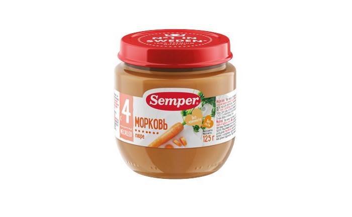 Пюре Semper Пюре морковь с 4 мес. 125 г спеленок пюре морковь с яблоком с 5 мес 80 гр